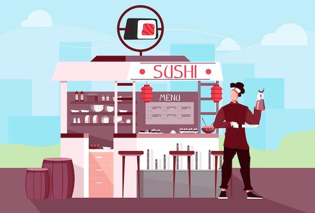 Composizione piana di persone di negozio di sushi con paesaggi all'aperto e paesaggio urbano con bancarella del ristorante e carattere umano