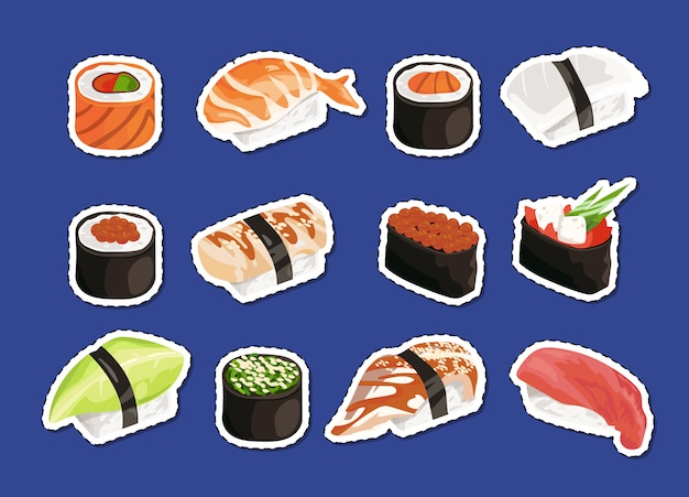 Sushi stickers set isolated on plain
