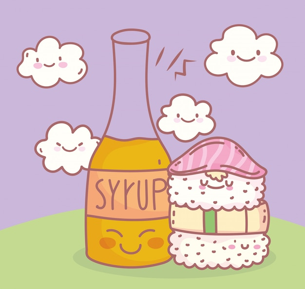 Sushi and syrup menu restaurant food cute