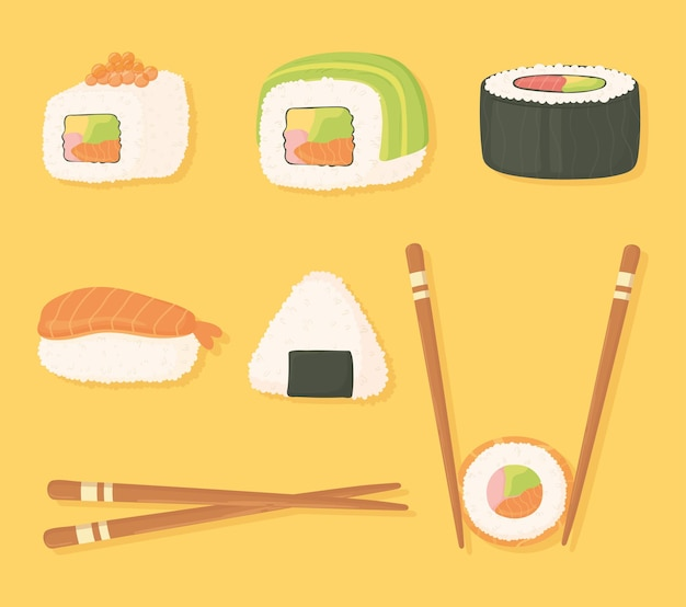 스시 시간 아이콘 설정 젓가락 및 다른 스시 음식 그림