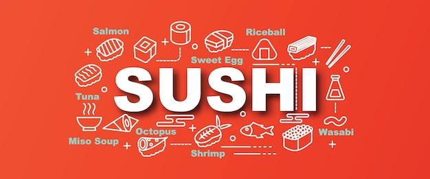 Sushi vector trendy banner
