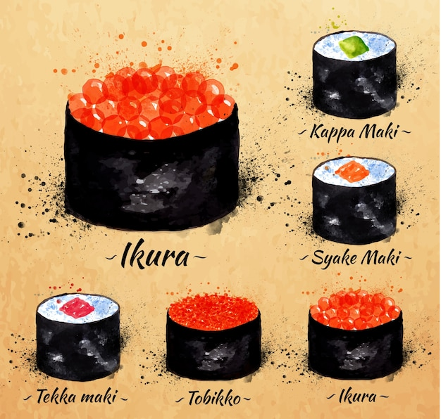 Sushi watercolor set hand drawn with stains and maki, kappa maki, syake maki, ikyra, tobik