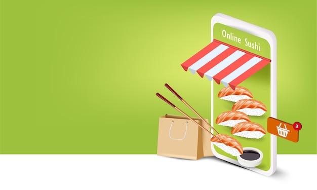 Суши с сумкой и смартфоном для заказа суши онлайн