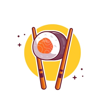 Sushi with chopstick cartoon   icon illustration. japanese food icon concept isolated  . flat cartoon style