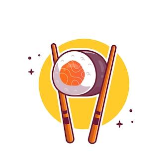 箸漫画アイコンイラスト寿司。分離された日本食のアイコンのコンセプト。フラット漫画のスタイル