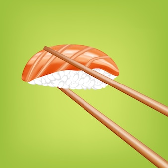 Sushi with chopsticks in 3d design