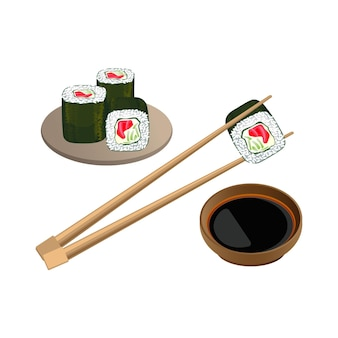 Sushi with salmon in chopsticks above bowl with soy sauce isolated on white background. traditional japanese food. realistic  of cooked vinegared rice combined with seafood and vegetables Premium Vector