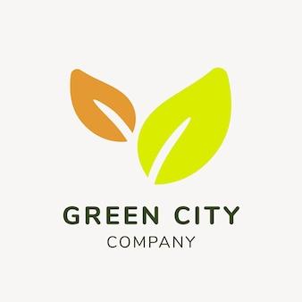 サステナビリティビジネスロゴテンプレート、ブランディングデザインベクトル、緑の都市のテキスト