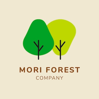 サステナビリティビジネスロゴテンプレート、ブランディングデザインベクトル、森の森のテキスト