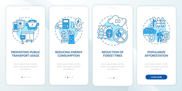Sustainability initiatives onboarding mobile app page screen. public transport walkthrough 4 steps graphic instructions with concepts. ui, ux, gui vector template with linear color illustrations