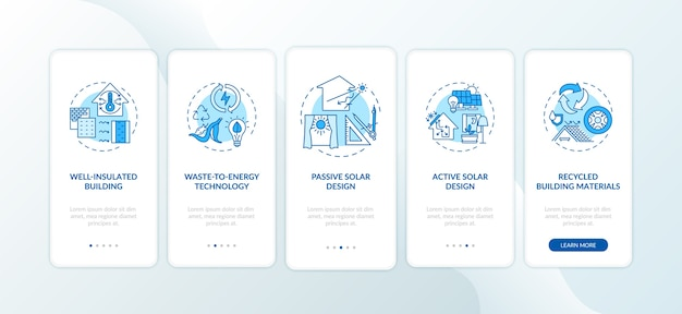 Sustainable architecture blue onboarding mobile app page screen with concepts.