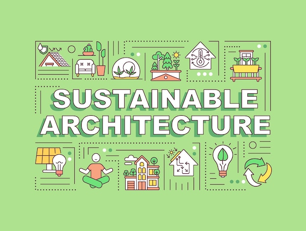 Sustainable architecture word concepts banner. green home. energy efficiency in house.