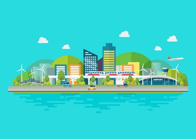 Устойчивый экологичный городской пейзаж с инфраструктурой и транспортом