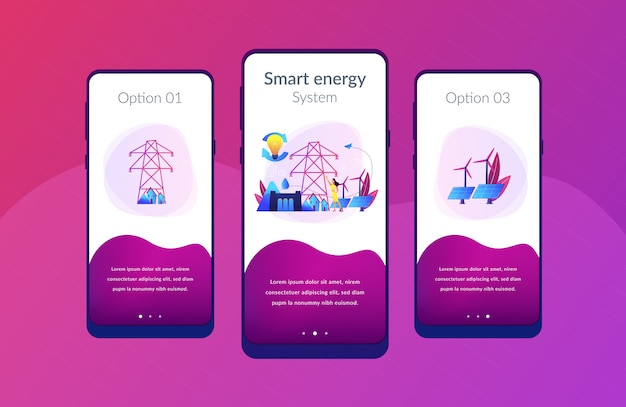 Sustainable energy app interface template.