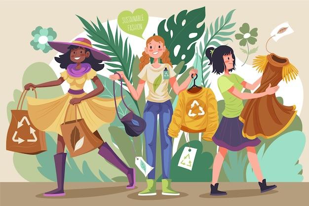 Donne di design piatto concetto di moda sostenibile