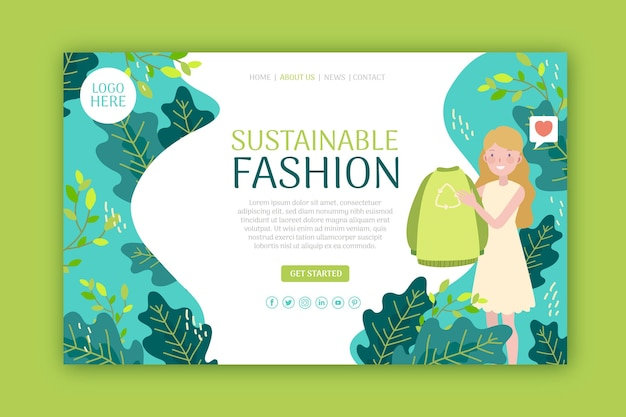 Sustainable fashion web landing page template