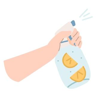 지속 가능한 주방과 폐기물 제로 생활 개념. 레몬 조각으로 집에서 만든 청소기를 손에 들고 있습니다. 벡터 만화 그림입니다.