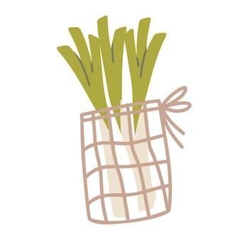 持続可能なキッチンとゼロウェイスト生活のコンセプト。セロリ入りメッシュバッグ。ベクトル漫画イラスト。