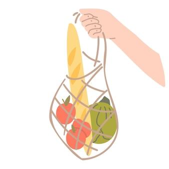 持続可能なライフスタイルとゼロウェイスト生活のコンセプト。食料品と再利用可能なメッシュバッグを持っている手。ベクトル漫画イラスト