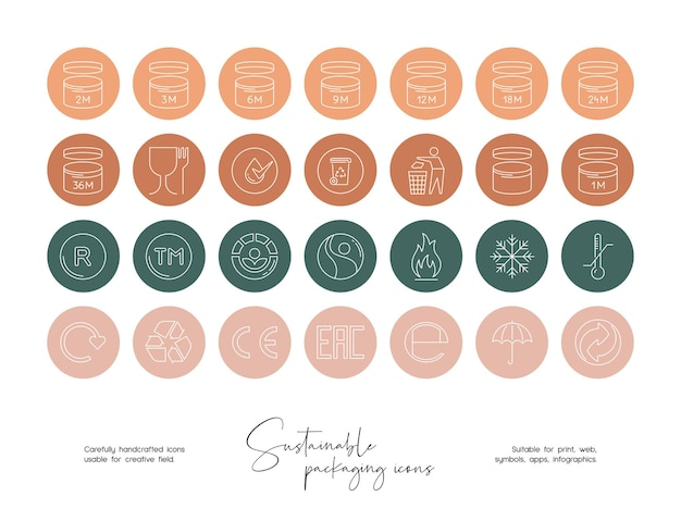 Sustainable packaging vector icon set of sustainable living recycling organic food