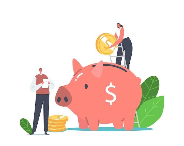 지속 가능한 전력 개념. 작은 남성과 여성 캐릭터는 녹색 에너지를 사용하기 위해 돈을 저축하는 거대한 돼지 저금통에 황금 동전을 넣습니다. 노트북을 가진 남자는 전기를 사용합니다. 만화 사람들 벡터 일러스트 레이 션