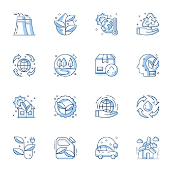Sustainable and renewable energy linear vector icon set.