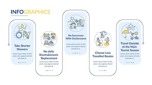 지속 가능한 관광 아이디어 벡터 infographic 템플릿입니다. 더 짧은 샤워 프레젠테이션 디자인 요소를 가져 가라. 5단계로 데이터 시각화. 프로세스 타임라인 차트. 선형 아이콘이 있는 워크플로 레이아웃