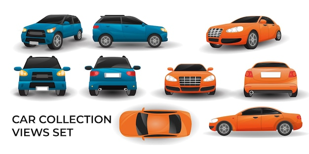 Внедорожник автомобиль orange sedan car просмотры набор коллекции векторные иллюстрации