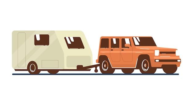 Suv車とトレーラーキャラバンが分離されました。ベクトルフラットスタイルのイラスト。