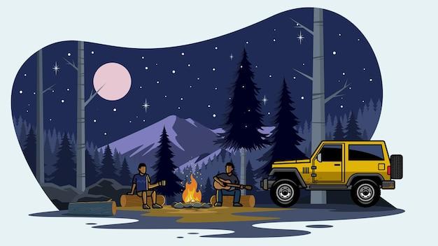森でキャンプするsuv車
