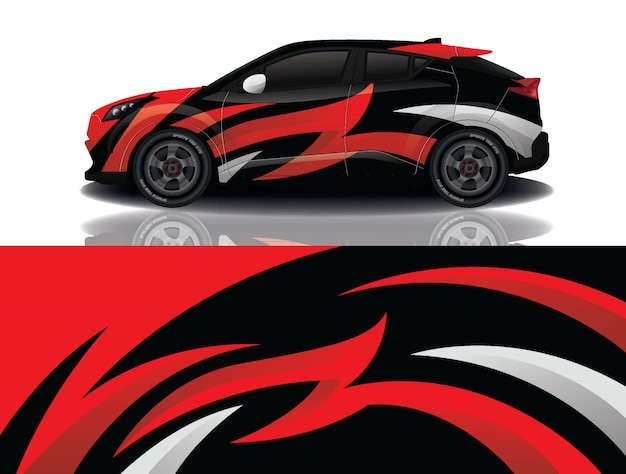 Suv car decal wrap design vector