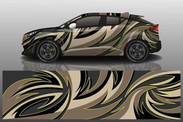 Suv car decal wrap illustration