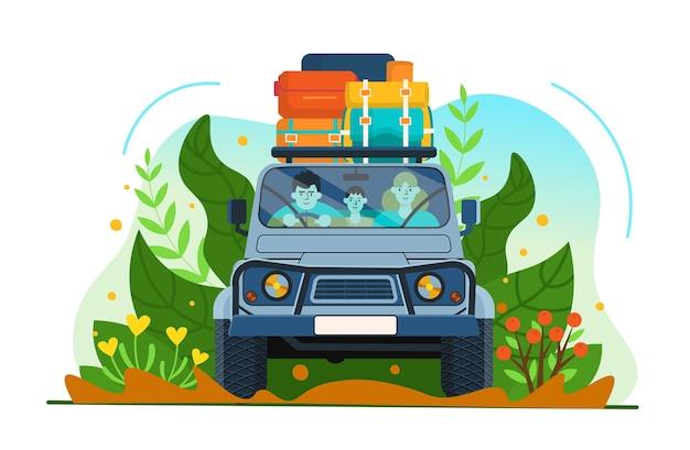 Suv 자동차. 여행 가방이 많은 차를 타고 여행하는 가족.