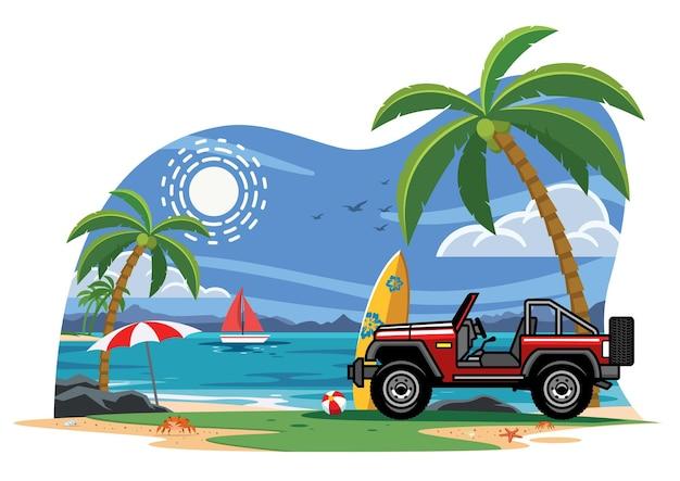 해변에서 suv 자동차