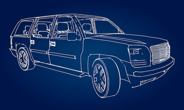 Suv car outline drawing of a hand.