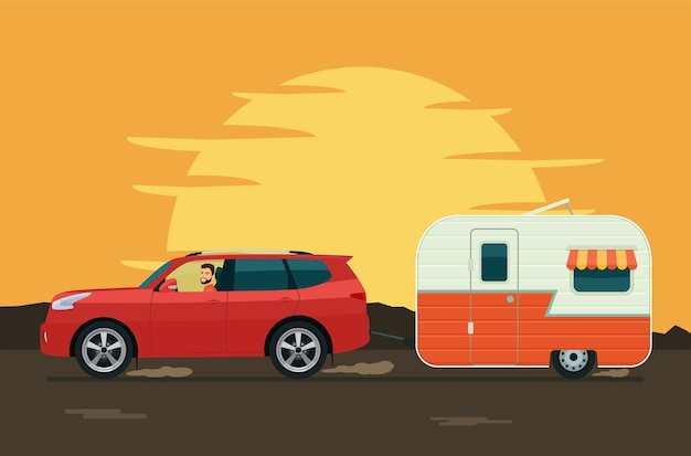 Suv車はトレーラーキャラバンを牽引します。フラットスタイルのイラスト。