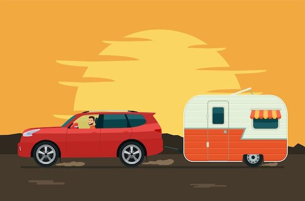 Suv car tows a trailer caravan.  flat style illustration.