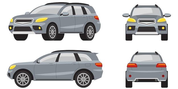 Внедорожник в разных представлениях. серый автомобиль в мультяшном стиле.