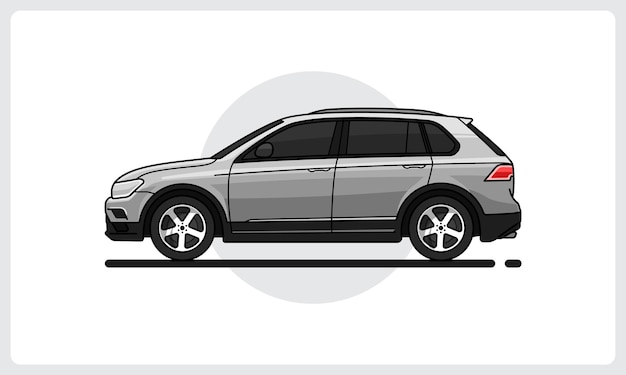 Suv modern car side view easy editable
