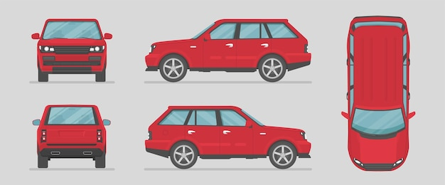 Suv. red car from different sides. side view, front view, back view, top view. cartoon car in flat style.
