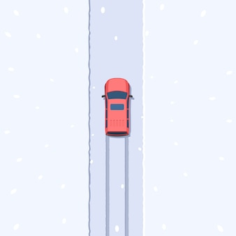 Suv on snowy road top view