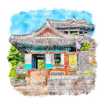 Suwon korea watercolor sketch hand drawn illustration