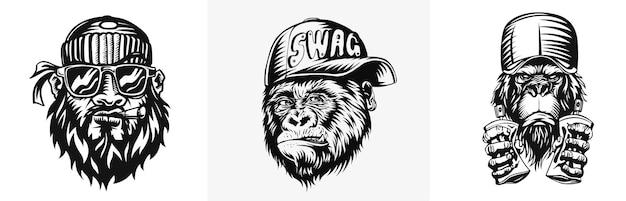 모자가 달린 swag 원숭이 원숭이 tshirt 및 문신에 대한 현대적인 거리 스타일 속성