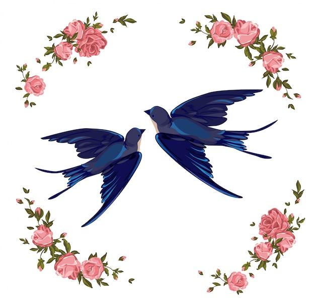 ツバメと花のイラスト。飛んでいる鳥