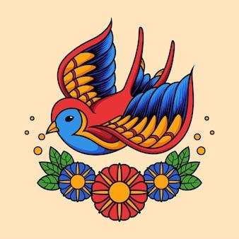 伝統的なタトゥースタイルで鳥を飲み込む