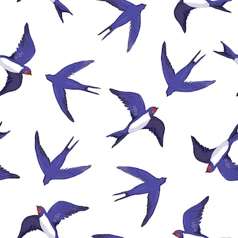 Swallow bird seamless pattern