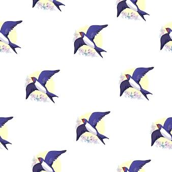 Swallow bird seamless pattern