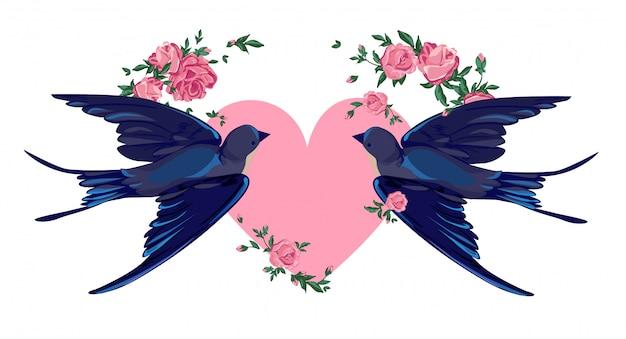 ツバメの飛行、心と花のイラスト。
