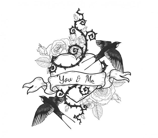 Swallows with heart vector tattoo by hand drawing