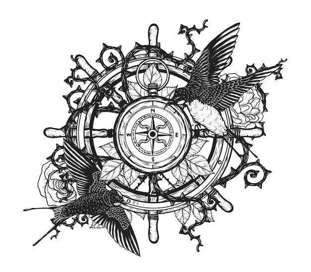 Swallows with steering wheel vector tattoo by hand drawing